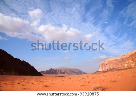 The spectacular mountains of Wadi Rum in Jordan. - stock photo
