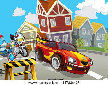 The speeding car - illustration for children - stock photo
