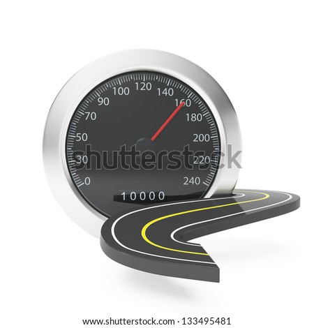 The speedometer and the road surface. Car service and repair, graphics