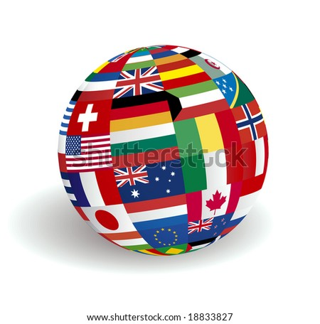 The sphere world flags - stock photo