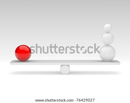 the spheres in balance. 3d rendered illustration. - stock photo
