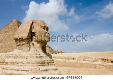 The Sphinx and Great Pyramids in Giza, Egypt - stock photo
