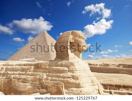 The Sphinx and the great Pyramid at Giza in Egypt.