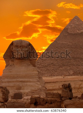 The Sphinx and the Great Pyramid, Egypt - stock photo