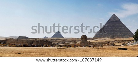 The Sphinx and the pyramids - stock photo