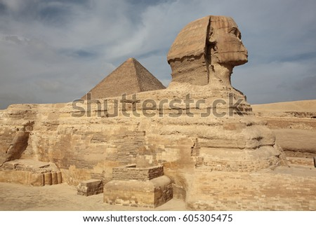 The Sphinx at Giza and ancient Egyptian pyramid in Giza, Cairo