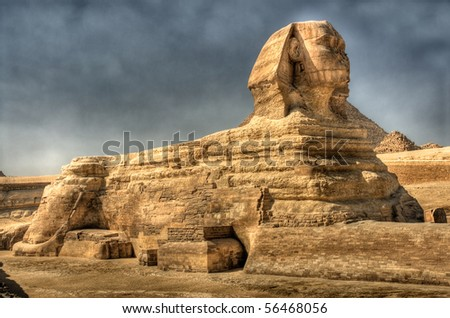The Sphinx at Giza Egypt. HDR image. - stock photo