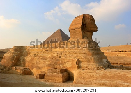 The Sphinx with the likeness of Khafre and a lions body at Giza in Egypt - stock photo