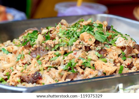The spicy artificial minced meat salad with vegetable and chili, Vegan food. - stock photo