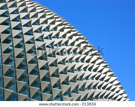 The spiky roof of the Esplanade on a clear blue sunny day - stock photo