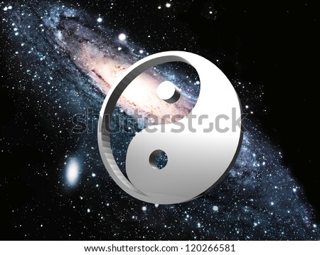 the spiral galaxy and ying yang - stock photo