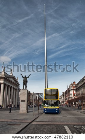 The Spire of Dublin, alternatively titled the Monument of Light. Famous landmark in Dublin, Dublin Bus by GPO.  Nelson's Pillar on O'Connell Street in Dublin, Ireland. Dublin city skyline spire.