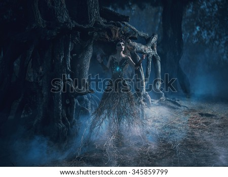 The spirit wanders the woods in the dark magic forest girl tree took root near the mighty oak,mystical image, spells,fashion creative color toning - stock photo
