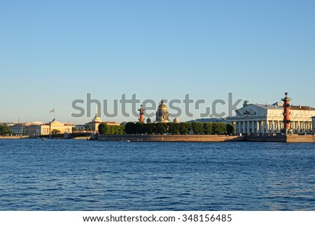 The spit of Vasilievsky island with the hare island in St. Petersburg on a Sunny summer day - stock photo