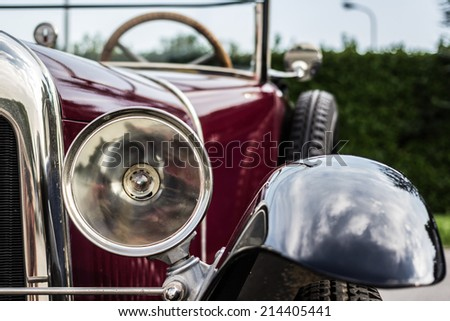 the splendor of the beautiful chrome of vintage cars  - stock photo