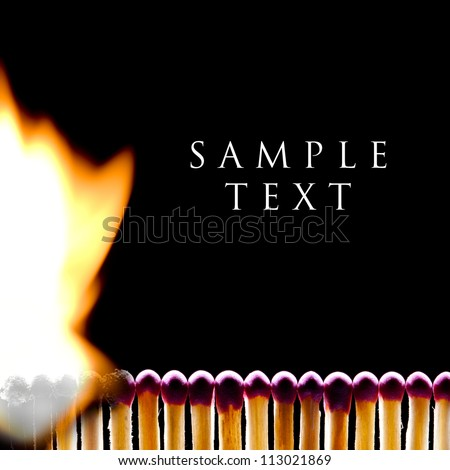 The spoiled matches on a black background. One match burns. - stock photo