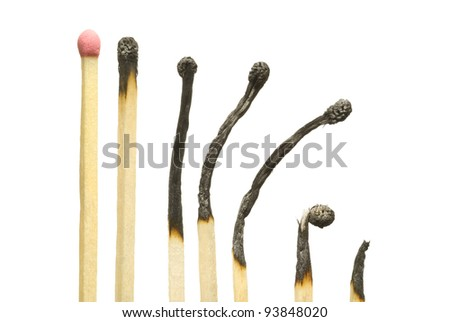 The spoiled matches on a white isolated background (one match the whole). - stock photo