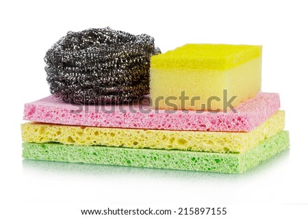 The sponges stack isolated on white background - stock photo