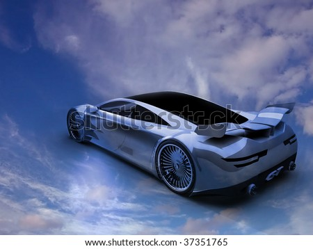 The sports car directed in the sky - stock photo