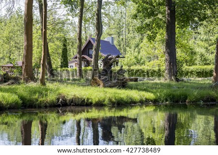 """The Spreewald- Germany (German for """"Spree Woods""""; in Lower Sorbian: B?ota) is situated about 100 km south-east of Berlin. It was designated a biosphere reserve by UNESCO in 1991 - stock photo"""