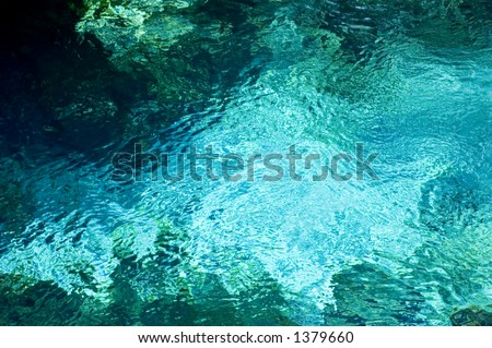The spring boil at Fanning Springs, Florida. - stock photo