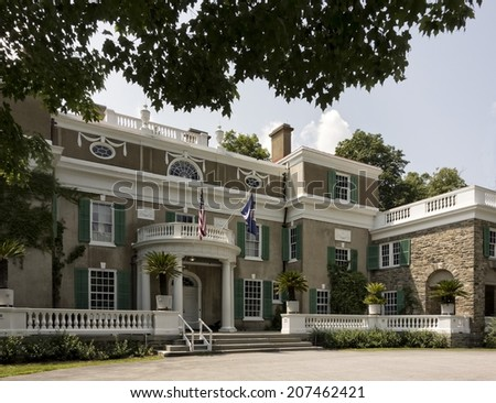 The Springwood Estate is the former home of Franklin and Eleanor Roosevelt in Hyde Park, New York.  - stock photo