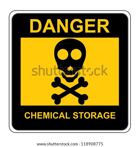 The Square Black and Yellow Danger Chemical Storage Sign Isolated on White Background - stock photo