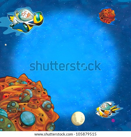 The square framing - aliens subject - ufo - for kids - kindergarten - menu - screen - space for text - happy and funny mood part 1 - stock photo