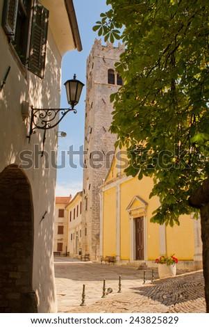 the square in city Motovun - Istria - Croatia - stock photo