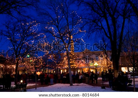 The square in Santa Fe at Christmas time. - stock photo