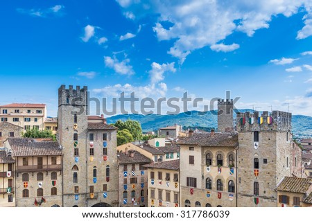 The square in the old town of Arezzo - stock photo