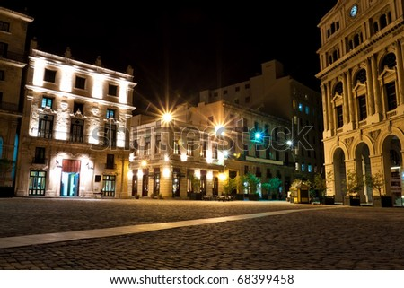 The square of San Francisco in Old Havana at night - stock photo