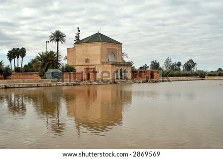 The square-plan pavilion on the shore of the lake was constructed during the 19th century reign of the 'Alawid dynasty. - stock photo