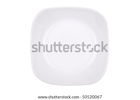 The square white dish isolated on white