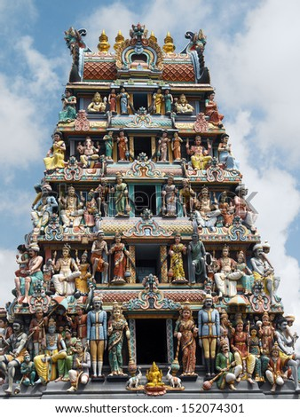 The Sri Mariamman Hindu Temple on South Bridge Road in the Chinatown District of Singapore.