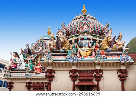 The Sri Mariamman Temple is Singapore's oldest Hindu temple - stock photo