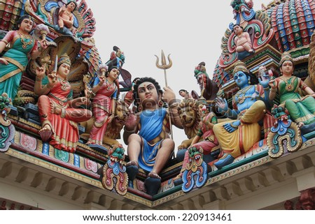 The Sri Mariamman Temple, Singapore's oldest Hindu temple, has been bazetted a National Monument and is a major tourist attraction. - stock photo