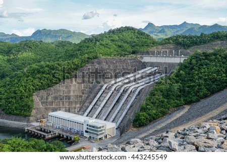 The Srinagarind Dam, Hydro Power Electric Dam in Thailand, The large dam to generate electricity. - stock photo