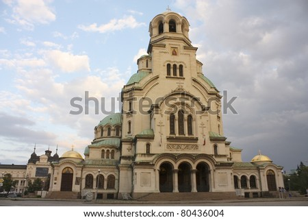 The St. Alexander Nevsky Cathedral, a Bulgarian Orthodox cathedral in Sofia, capital of Bulgaria. Is one of the largest Eastern Orthodox cathedrals in the world, as well as one of Sofia's symbols. - stock photo