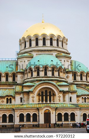 The St. Alexander Nevsky Cathedral, a Bulgarian Orthodox cathedral in Sofia, the capital of Bulgaria. Is one of the largest Eastern Orthodox cathedrals in the world, as well as one of Sofia's symbols - stock photo