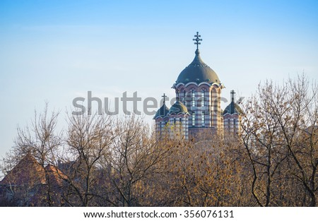 The St. Elefterie Church was built during the Second World War, with its 36 meter height, it is one of the largest churches in the Romanian capital. - stock photo