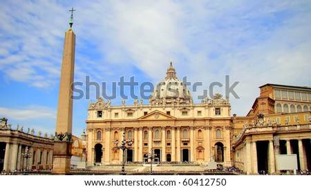 The St. Peter's Basilica and the obelisk from the Circus of Nero in Vatican City, Rome, Italy - stock photo