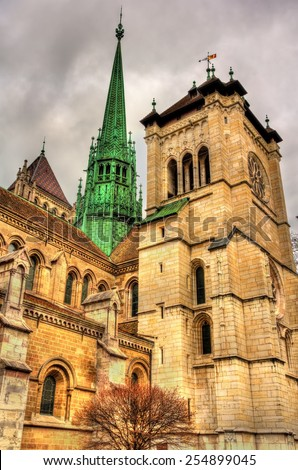 The St. Pierre Cathedral of Geneve in Switzerland - stock photo