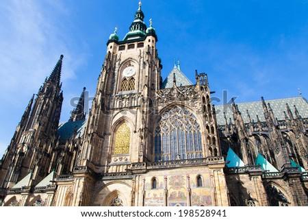The St. Vitus cathedral in Prague Castle in Prague, Czech Republic <winter season> - stock photo