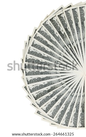 The stack is 100 dollar bills USD spread out like a fan, isolated on white background - stock photo