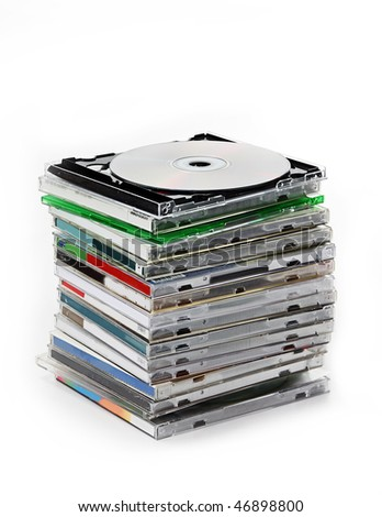 The stack of CD cases