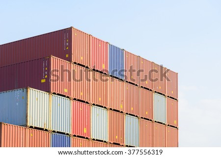 The stack of container in the ship yard at the port before export process - stock photo