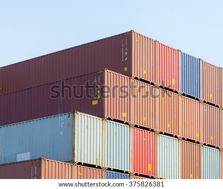 The Stack Of Container Storage In The Ship Yard At The Port Before Shipping  To Oversea