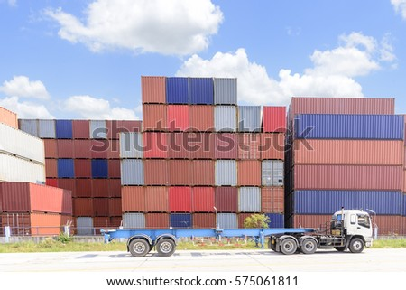 The Stack Of Container Storage On The Ship Yard Before Export Process.The  Container Truck