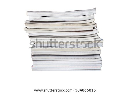 the stack of magazines on a white background. There are 21 magazines with different thickness - stock photo